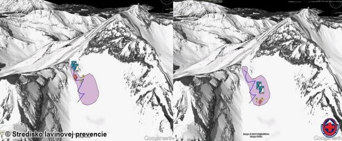 2017-04-08 Lavína pod Sedielkom. (modrá - výstupová trasa, 2x ABS batoh, 2 skialpinisti, 4 alpinisti, vľavo pred odtrhom, vpravo po zasypaní)